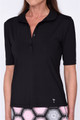 Golftini Tech Elbow Sleeve Fashion Polo - Black