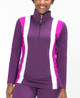 KINONA Modern Mix Long Sleeve Golf Top - Eggplant