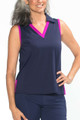 KINONA Easy Breezy Sleeveless Golf Top - Navy