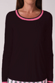 Long Sleeve Mesh Trim Top - Black/Hot Pink