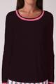 Long Sleeve Mesh Trim Top - Black/Hot Pink