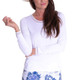Long Sleeve Mesh Trim Top - White