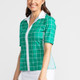 KINONA Sweet and Slim Short Sleeve Golf Top - Windowpane Green