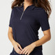 Jane Half Sleeve Polo - Navy