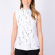 Mineral Print Sleeveless Zip
