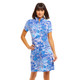 IBKUL Bamboo Gardens Short Sleeve Mock Dress (2 colors)