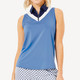 BelynKey Chevron Sleeveless Polo - Ocean