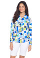 IBKUL Mondrian Long Sleeve Zip Polo