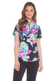 IBKUL Flora Short Sleeve Zip Mock