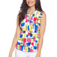 IBKUL Mondrian Sleeveless Ruffle Zip Polo