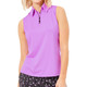 BelynKey Zip Keystone Sleeveless Polo - Fuchsia
