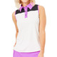 BelynKey Color Block Sleeveless Polo - Chalk/Fuchsia