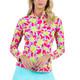 IBKUL Turtles Long Sleeve Zip Mock - Pink