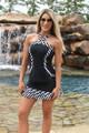FlirTee Asym Pleated Skort Black Stripes