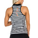 FlirTee Embroidered Racerback Polo Black Stripes