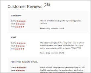 Customer reviews on sanding products