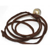 Tahitian Pearl Leather Necklace  12 MM AAA