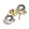 Tahitian Pearl Diamond Stud Earrings 9 MM AAA Grey Blue