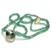 Tahitian Pearl Emerald  Solitaire Necklace 13.5MM AAA