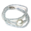 South Sea Pearl Aquamarine Solitaire Necklace 13 MM AAA Blue