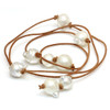 South Sea Baroque Pearl Lariat Leather Necklace  AA