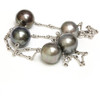 Tahitian Pearl Tincup Necklace 15 - 14 mm AAA Black / Dark Gray