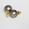 Tahitian Pearl Stud Earrings 18kt 14 MM Grey Olive AAA
