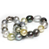 Tahitian & South Sea Baroque Pearl Necklace 17.5 - 15 MM Multi Color AAA