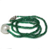 South Sea Pearl Emerald Solitaire Necklace 11 MM AAA