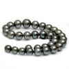 Tahitian Pearl Necklace 15 - 11 MM AAA Black / Dark Gray