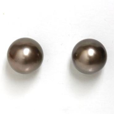 Tahitian Pearl Stud Earrings 10 MM Grey Copper AAA Flawless