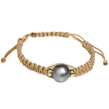 Tahitian Pearl Shamballa Macrame Bracelet Grey
