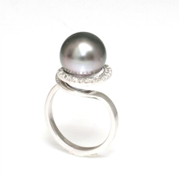 Tahitian Pearl & Diamond Halo Ring 11 - 12 MM AAA Flawless