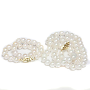 Akoya Necklace and Bracelet Set 6 - 6.5 MM  AAA