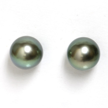 Tahitian Pearl Stud Earrings 9 MM Mint Green AAA Flawless
