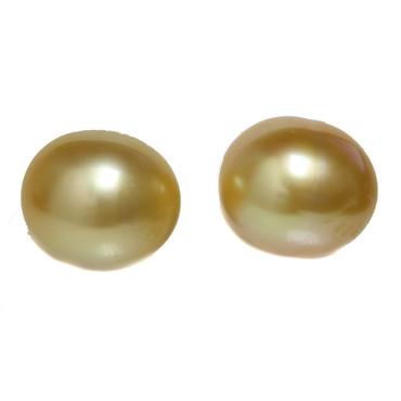 South Sea Pearl Stud Earrings 12 MM Golden AAA