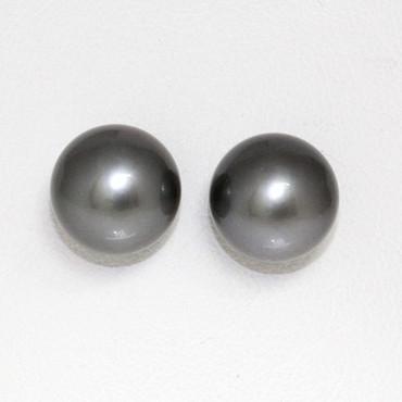Tahitian Pearl Stud Earrings 14kt 12 MM  AAA Flawless