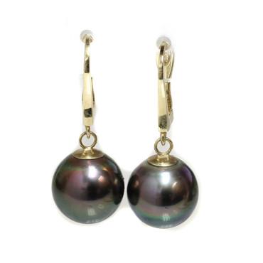 Tahitian Pearl Dangle Earrings 12 MM  AAA Peacock