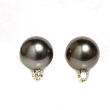 Tahitian Pearl Diamond Stud Earrings 8 MM AAA Flawless Black