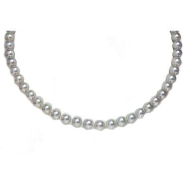 Akoya Opera Pearl Necklace 8 - 7.5 MM AAA Silver Blue