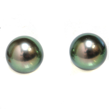Tahitian Pearl Stud Earrings 9.5 MM Green AAA Flawless