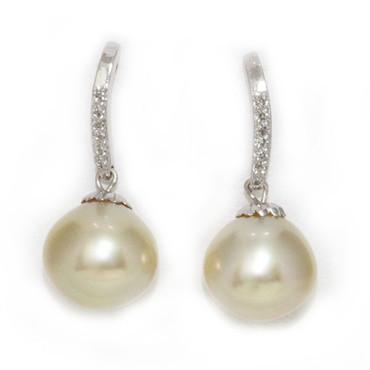 South Sea Pearl & Diamond Dangle Earrings 11 MM AAA 1