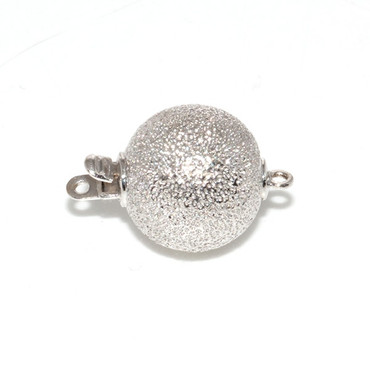 14kt Solid White Gold Ball Stardust clasp 12 MM