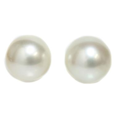 South Sea Pearl Stud Earrings 12.5 MM  White AAA Flawless