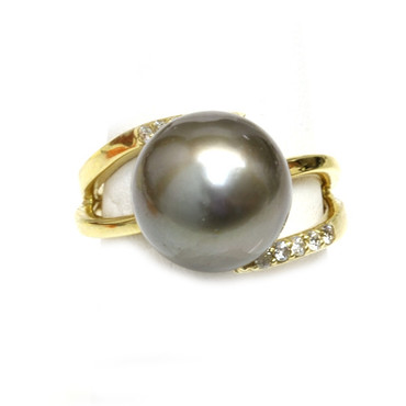 Tahitian Pearl & Diamond Adore Ring 12 mm AAA Dark Gray