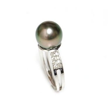 Tahitian Pearl & Diamond Sincere Ring 10 MM Peacock AAA