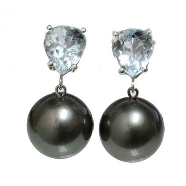 Tahitian Pearl Aquamarine Earrings 12 MM AAA Flawless