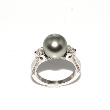 Tahitian Pearl & Diamond Engagement Ring 10 MM AAA Flawless 1