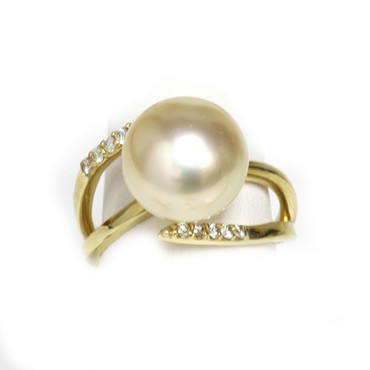 South Sea Pearl & Diamond Adore Ring 12 mm AAA Champagne