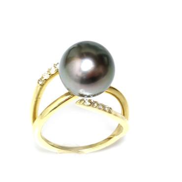 Tahitian Pearl & Diamond Adore Ring 12 mm AAA Black Green